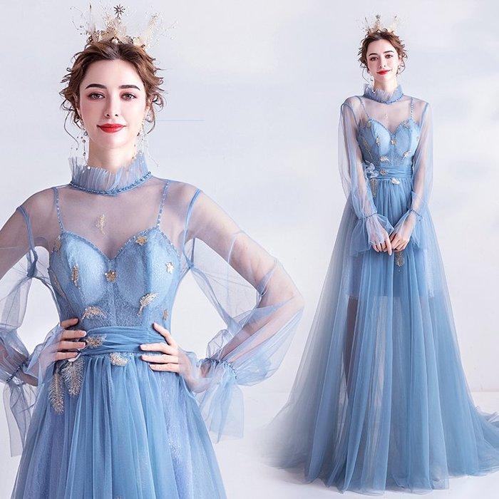 妞妞 婚紗禮服~外拍侶拍婚紗迷霧藍宴會婚纱長禮服~3件免郵