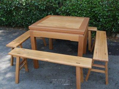 A005 {崙頂傳統原木家具行}~邊框實木桌配板凳  接受訂做.訂色
