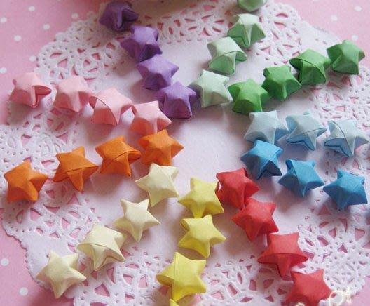 DIY手工成品幸运星糖果色许愿星 手工星星 多种颜色可选  折纸星星