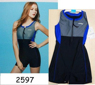 KINI-名人泳裝2597 M/L-保守拉鏈款-連身四角平口泳衣-時尚運動風黑底灰藍  特價990元
