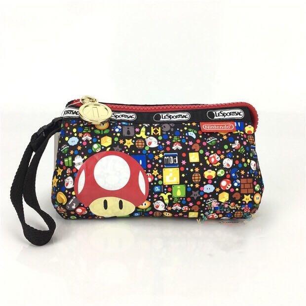 現貨 LeSportsac x Nintendo 8105 瑪麗歐 手掛繩多夾層化妝包 瑪利歐 任天堂 零錢包 收納包 降落傘防水 限量