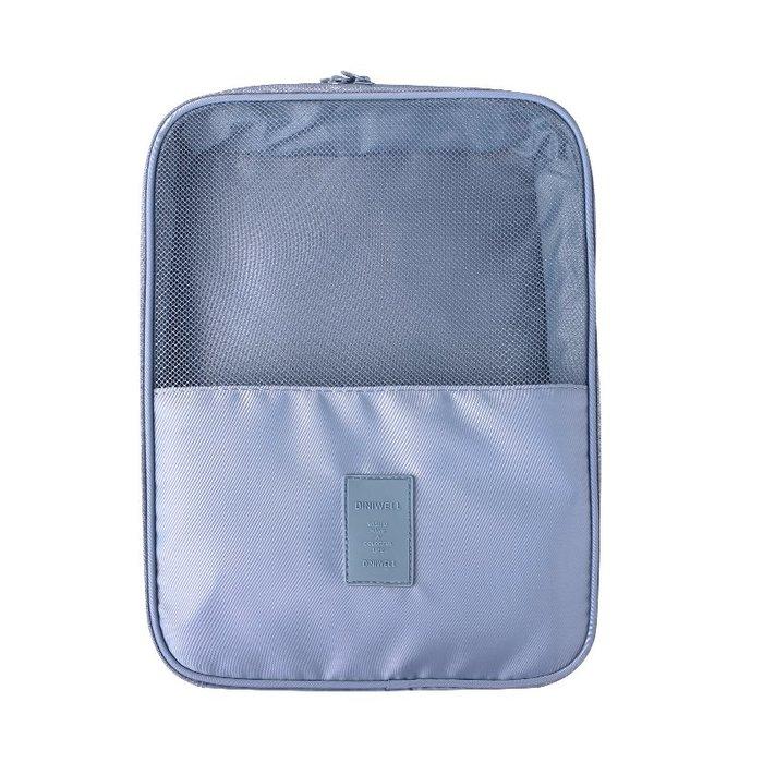 【杰元生活館】灰色 DINIWELL新款斜紋防水加大可掛行李箱旅行用衣物鞋子袋收納用雙層三位鞋包