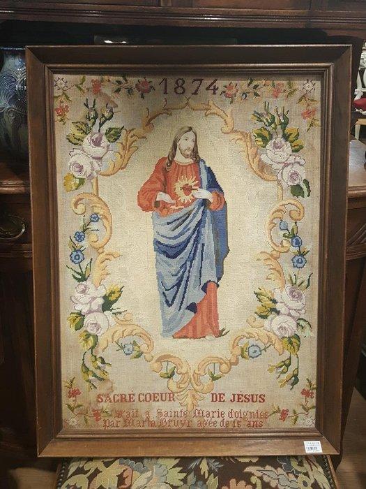 【卡卡頌 歐洲跳蚤市場 / 歐洲古董 】比利時老件_ 1874 年 耶穌 手工針織 十字繡 掛畫 pa0111