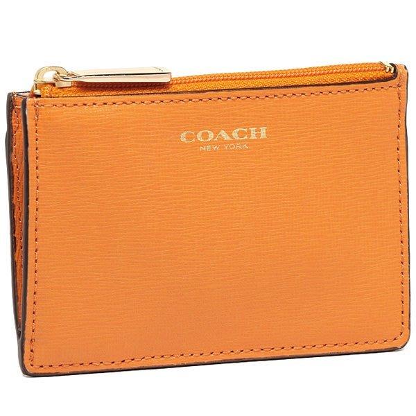 Coco小鋪 COACH 51452 MINI SKINNY IN SAFFIANO LEATHER  橘黃色鑰匙零錢包