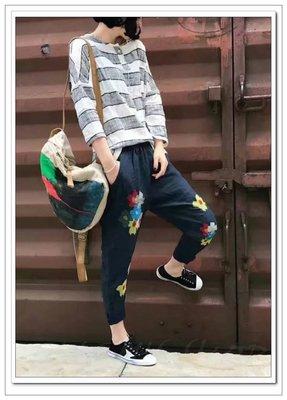 【E'S】韓國日本雜誌款 花麻布拼接牛皮水彩畫配麻料後背包 款式特別 日韓風格配色 流行時尚設計款 上學出遊約會逛街踏青