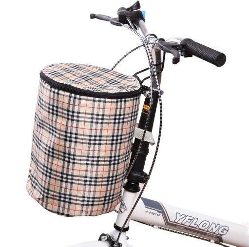 ~幸福家園~可折疊帶蓋帆布防水自行車滑板車購物袋車籃~便攜式單車車筐配件裝備~腳踏車籃子