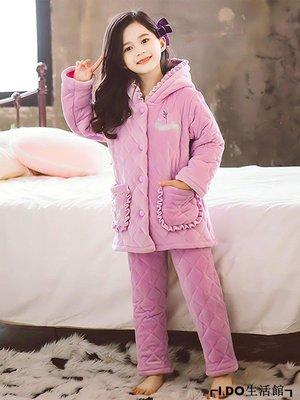 VR小鋪✿ 女童睡衣冬季法蘭絨潮新款中大童保暖加厚加絨三屋夾棉珊瑚絨家居服K312G