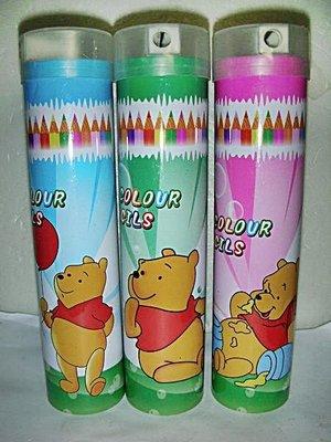 141.三款全新未用小熊維尼(Pooh)造型24色彩色筆/削鉛筆器!!---值得收藏!!/6房木箱/-P