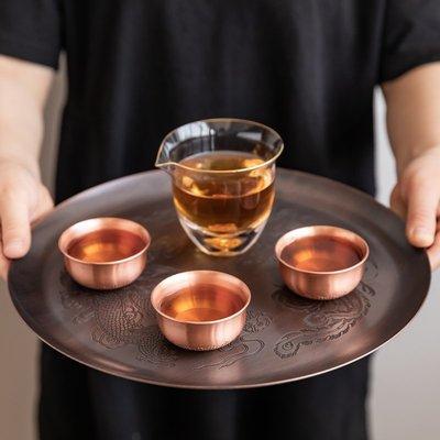 中式茶具 茶壺茶杯 純銅茶盤功夫茶盤圓形壺托手工干泡茶盤銅托盤家用干泡臺茶承壺承