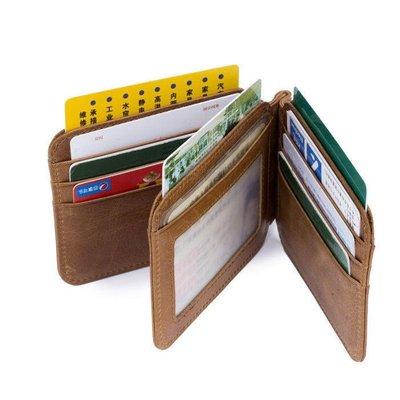 牛船長皮具 真皮18卡位頭層牛皮超薄零錢包 行駛證多相冊卡包  美金夾001三折