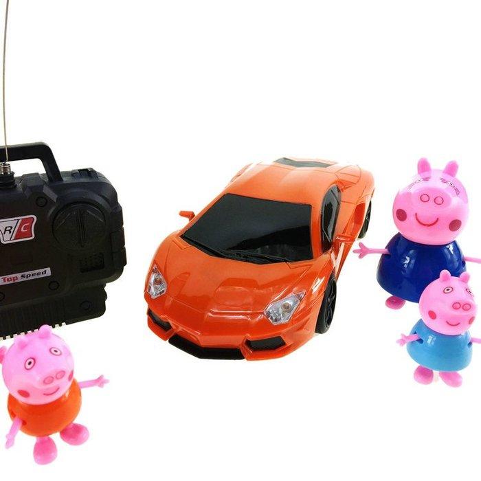小豬佩琪電動遙控車可充電跑車1:18仿真佩奇跑車蘭博基尼兒童玩具【免運】