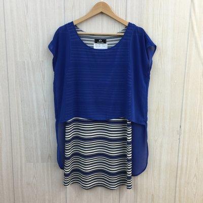 【愛莎&嵐】WEALTH HONOR 山形屋 女 藍色條紋拼接洋裝 1100416