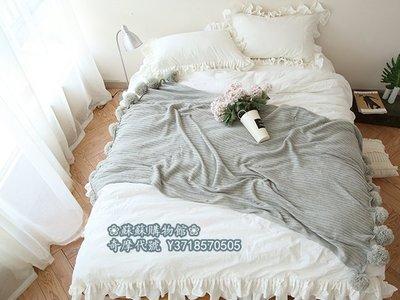 ❀蘇蘇購物館❀淺藍色空調毯高端版 北歐沙發棉線裝飾毯大毛球