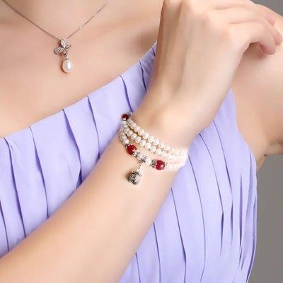 珍珠 手 鍊 瑪瑙手環-5mm泰銀吊墜母親節生日禮物女飾品73qn42[獨家進口][巴黎精品]