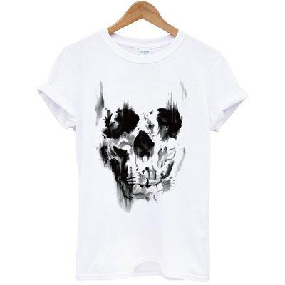 Women Skull Face短袖T恤-白色t 女人組成骷髏臉設計成人Gildan亞洲版型 童裝 390