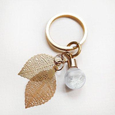 黃銅葉片氣泡Storm glass天氣瓶風暴瓶鑰匙圈《附客製手繪聖誕卡片》 請備註告知卡片內容!