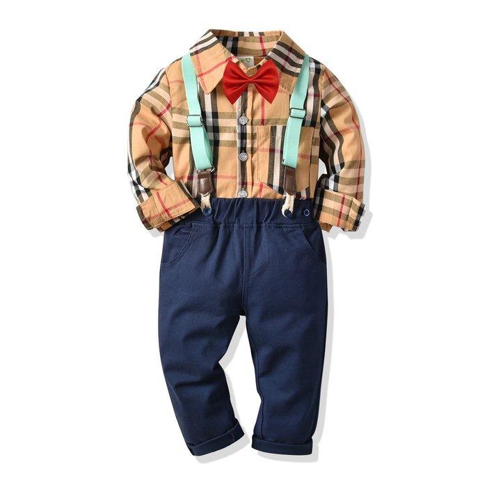 英倫風 男童  童裝 格子長須襯衣純棉背帶長褲 兒童 寶寶紳士四件套