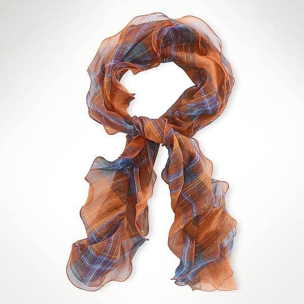 大降價!全新 LAUREN Ralph Lauren 橘藍色格紋純絲混金屬線絲巾,低價起標無底價!本商品免運費!