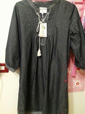 專櫃正品雨傘牌arnold Palmer鐵灰色波西米亞風長版上衣