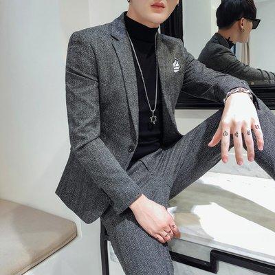 【MOZ潮流男装】秋冬季男士韓版商務純色西裝帥氣一粒扣小西服套裝兩件套