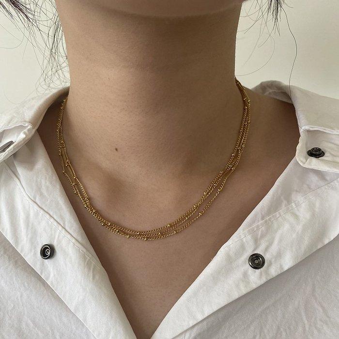 多層米珠短鍊 鍊條項鍊 [鈦鋼] 鍍18K金 防過敏  【IS081】
