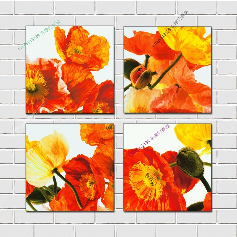 【60*60cm】【厚2.5cm】抽象紅花-無框畫裝飾畫版畫客廳簡約家居餐廳臥室牆壁【280101_193】(1套價格)
