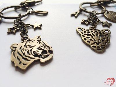 ♥ STORY SAYS ♥【豹虎/抱福】手創 客製古銅豹與虎成對鑰匙圈 吊飾 朋友 禮物 生日 畢業