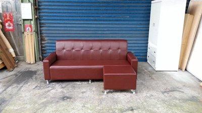 【安鑫】全新品!紅色水鑽L型乳膠厚皮沙發組四人座雙人座三人座皮沙發椅~【A859】