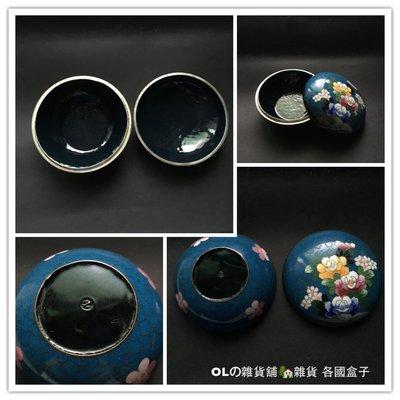 少見老珍藏 日本景泰藍掐絲琺瑯 花團錦簇銅鍍銀盒 首飾盒 珠寶盒 擺飾收藏2911