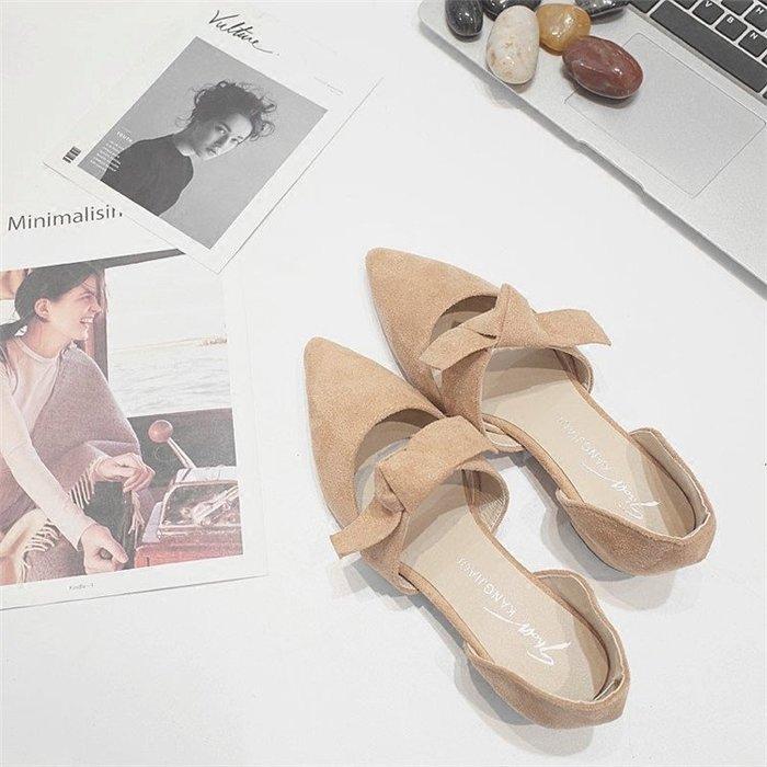 夏季淺口蝴蝶結系帶高跟鞋女粗跟百搭尖頭低跟甜美單鞋女
