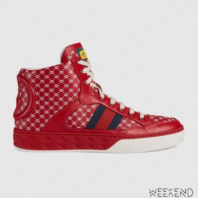 【WEEKEND】 GUCCI Dapper Dan Logo 復古 高筒 皮革 休閒 運動鞋 球鞋 紅色 538708