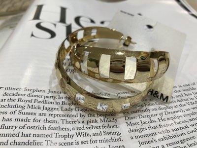 [ AD lib 代購 ] 出清 H&M 金色 顯眼  裸空 圓形 大耳環 造型 耳環 直徑6cm 台北市