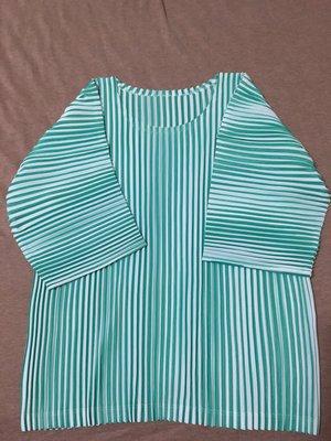 《全新》三宅ㄧ生 pleats please 淺綠拼色潺流針織7分袖上衣(PP/me)