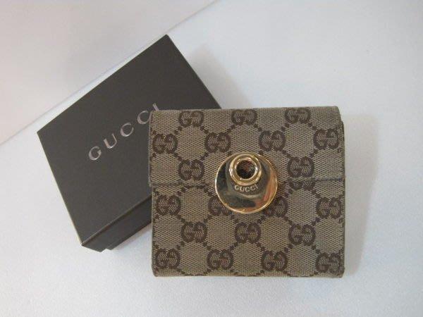*旺角名店* Gucci 咖啡色緹花圓釦皮夾 短夾 三折 發財包 M61736 M61734 [060403]