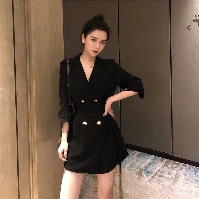 韓版氣質收腰西裝外套連身裙洋裝