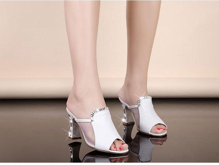 [C.M.平價精品館]34~42碼/優雅魚口性感鏤空透明閃鑽舒適百搭精緻高跟鞋