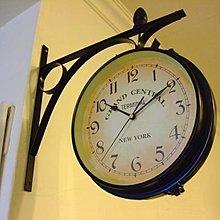 433 華城小舖**仿古 時鐘 民宿 靜音 雙面鐘 實木掛鐘 歐式 掛鐘 加大型/紐約地鐵車站雙面鐘