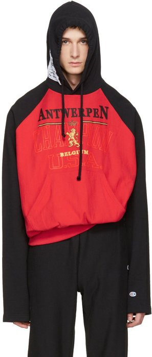 Vetements  Red & Black Champion Edition Antwerpen Hoodie
