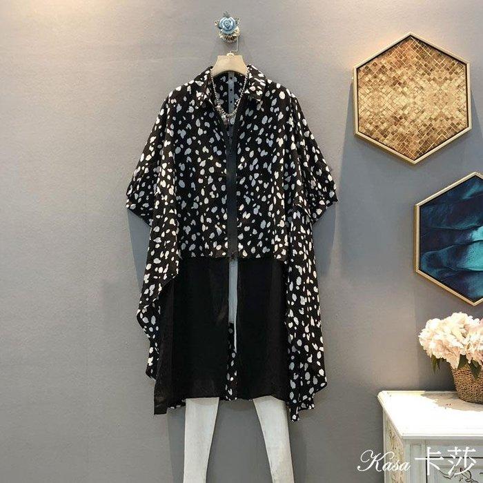 時尚大碼♥大碼斑點拉鏈翻領寬松大碼大尺碼拼接雪紡襯衫
