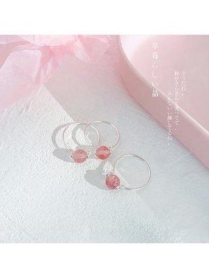 戒指 草莓晶轉運珠戒指食指尾戒DPJ