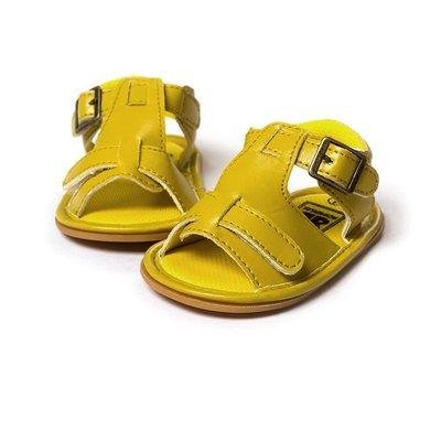 鞋鞋樂園~膠底~黃色時尚涼鞋~學步鞋~寶寶鞋~幼兒鞋-娃娃鞋-學走鞋~童鞋~魔術貼設計~彌月送禮~適合戶外行走