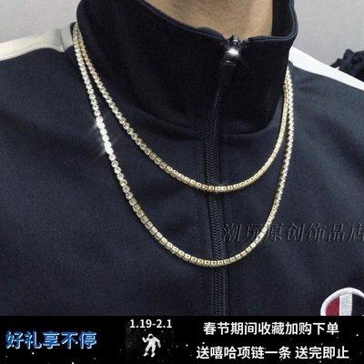 宏美飾品館~歐美潮牌嘻哈hiphop說唱金色銀色帶鉆滿鉆AAA皓石一排鈦鋼項鍊