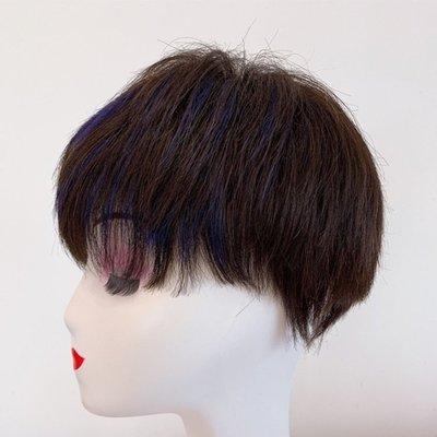整頂假髮真髮絲短假髮-挑染斜瀏海直髮手織女假髮2色73vr12[獨家進口][米蘭精品]