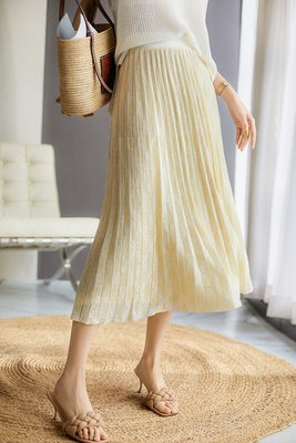 XG 溫柔的奶油黃 娃娃領空氣提花 鬆緊腰長裙 百摺裙 (套裝裙子)