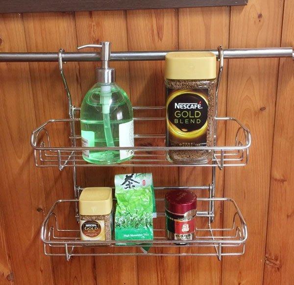 不鏽鋼掛桿用雙層瓶罐架,組合式設計易清洗,304不銹鋼置物架,廚房浴室收納架、調味料罐架