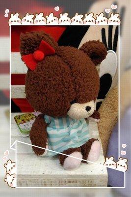 紅蝴蝶結條紋洋裝上學熊公仔 * 日本 *