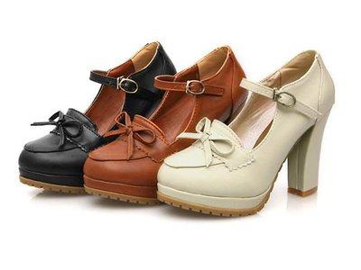 復古瑪莉珍甜美PU皮蝴蝶結皮帶扣環粗跟高跟鞋包鞋娃娃鞋-棕/米/黑(34-38)【1813273255】
