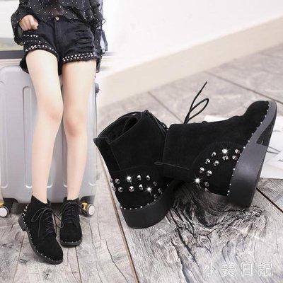 大碼平底短靴 新款平底低跟鉚釘女鞋短靴歐美女靴子防滑馬丁靴裸靴棉靴 qf18194