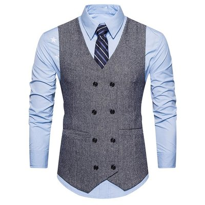 Meili時尚館MenS SuiT VeST ForMal TWeeD CheCk DouBle BreaSTeD WaiSTCoaT