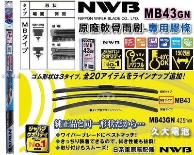 ✚久大電池❚ 日本 NWB 三節式軟骨雨刷 雨刷膠條 MB43GN MB-43GN MB43 膠條 17吋 425mm